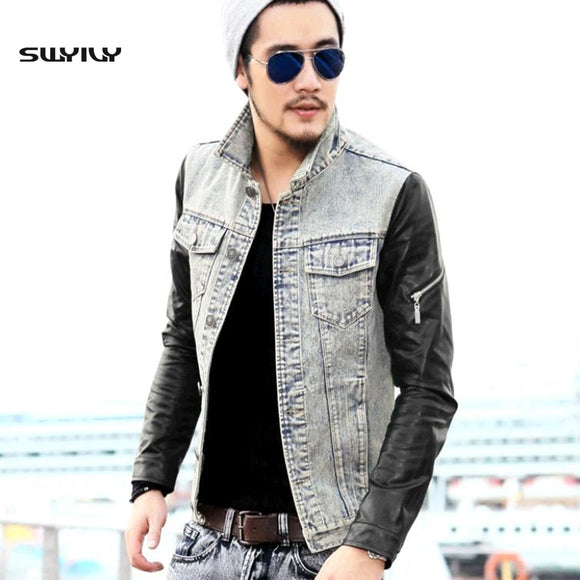 Leather Sleeve Splicing Retro Jacket Men's Denim Jacket Cowboy Leather Jacket 2017 Autumn Spring Male Outerwear Coats S-XXL