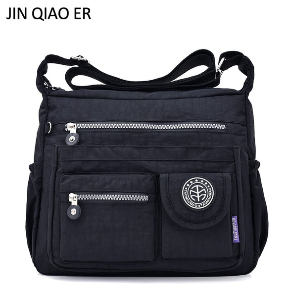 JINQIAOER Waterproof Nylon Women Shoulder Bag Casual Women Handbags High Quality Female Multi-pocket Zipper Messenger Bag Bolsas