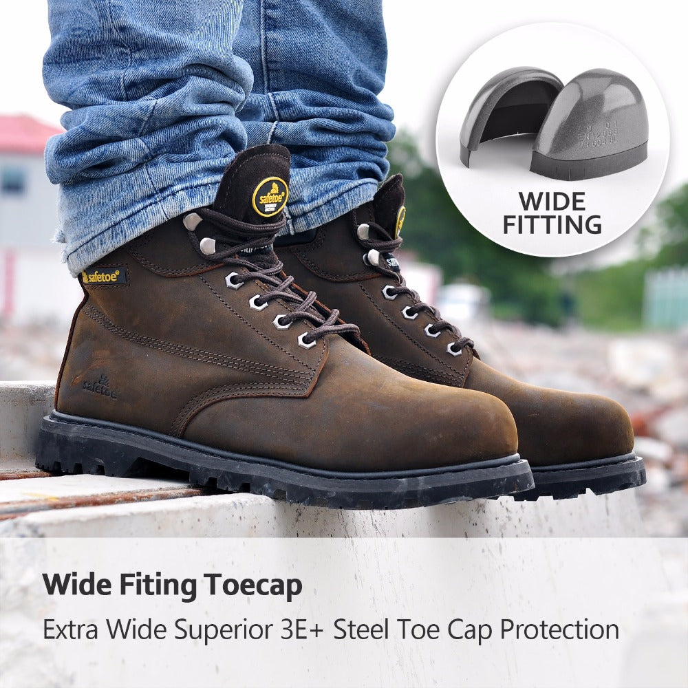 c88e2e0d6b43 Safetoe Mens Work Boots Safety Shoes Trainers Steel Toe Brown Extra Wide  Cow Leather Steel Plate