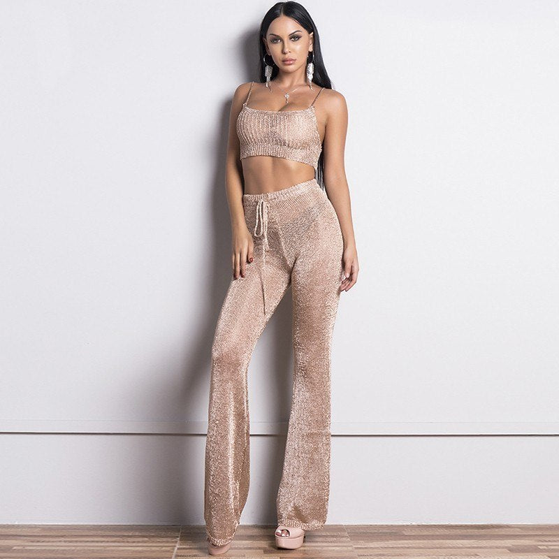 glitter rose gold bodycon cropped fashion 2 piece set women suit two piece  set top and aaa4b64c4ca3