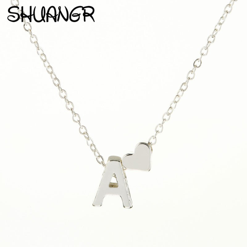 Shuangr Tiny Silver Initial Necklace Silver Letter Necklace Initials Name Necklaces  Pendant For Women Girls . 539a3d876