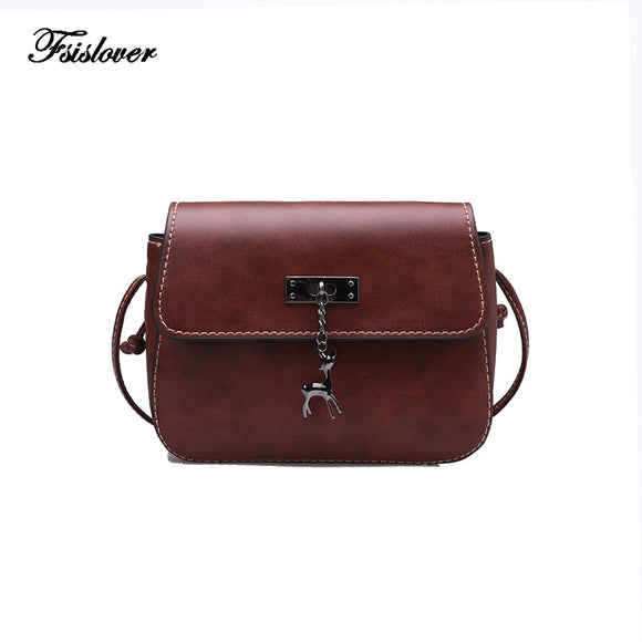 Vintage Deer Small Women Bags PU leather Messenger Bag Clutch Bags Designer Mini Shoulder Bag Women Handbag bolso mujer purse