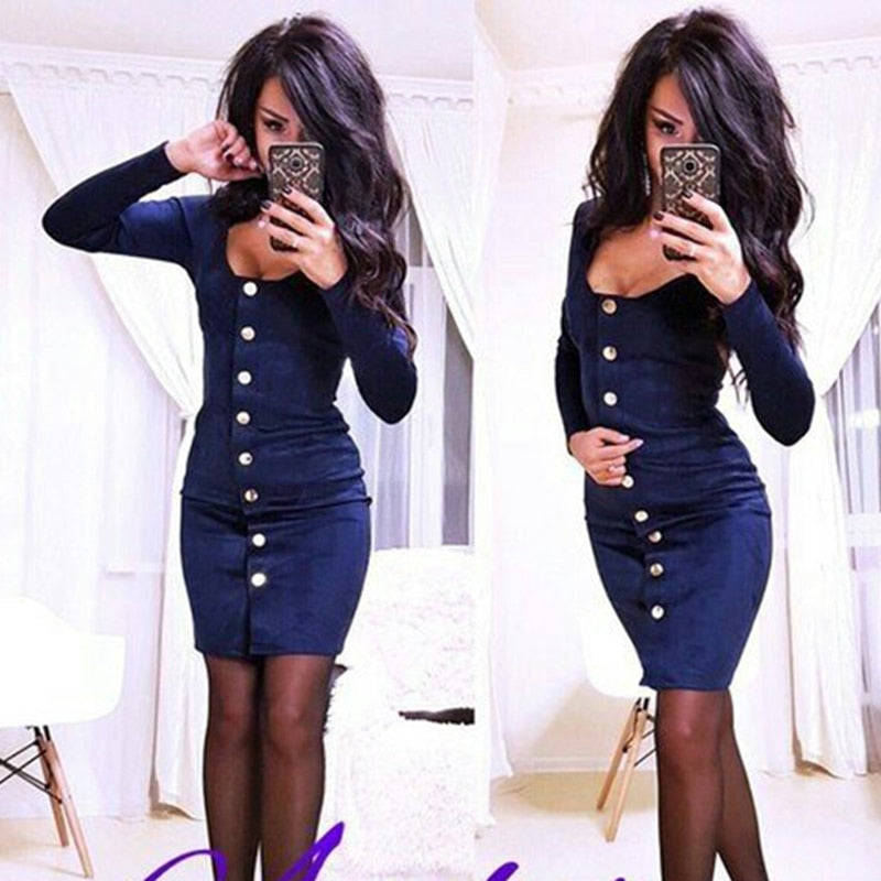 306ddca233e 2018 Women Sexy Vintage Solid Color Long sleeve Slim fit dress Autumn  Fashion O-Neck