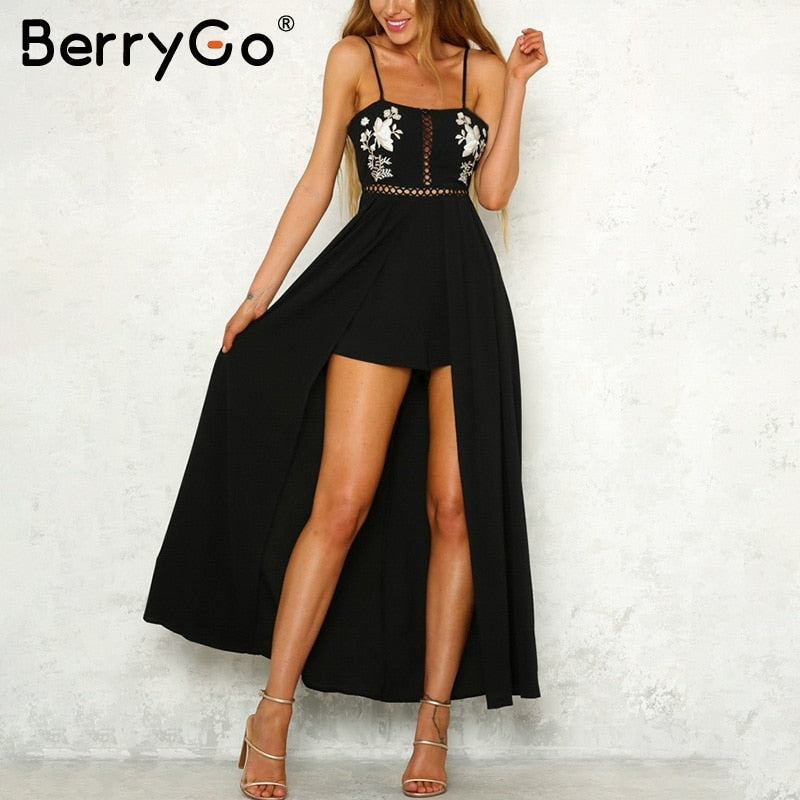 6777c74751a BerryGo Strap backless jumpsuits rompers Elegant embroidery hollow out summer  romper 2018 Black beach women jumpsuit
