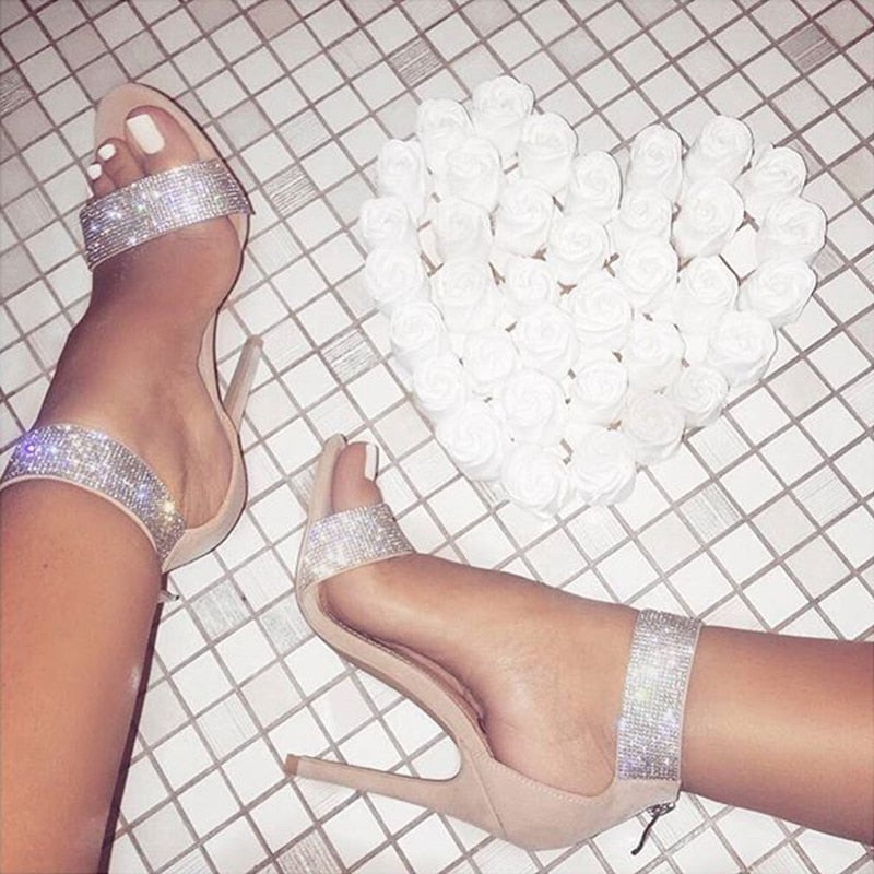 828314bbc5ba4 Boussac Luxury Crystal Heel Sandals Brand Design Sexy Bling Rhinestone High  Heel Women Sandals Elegant Party
