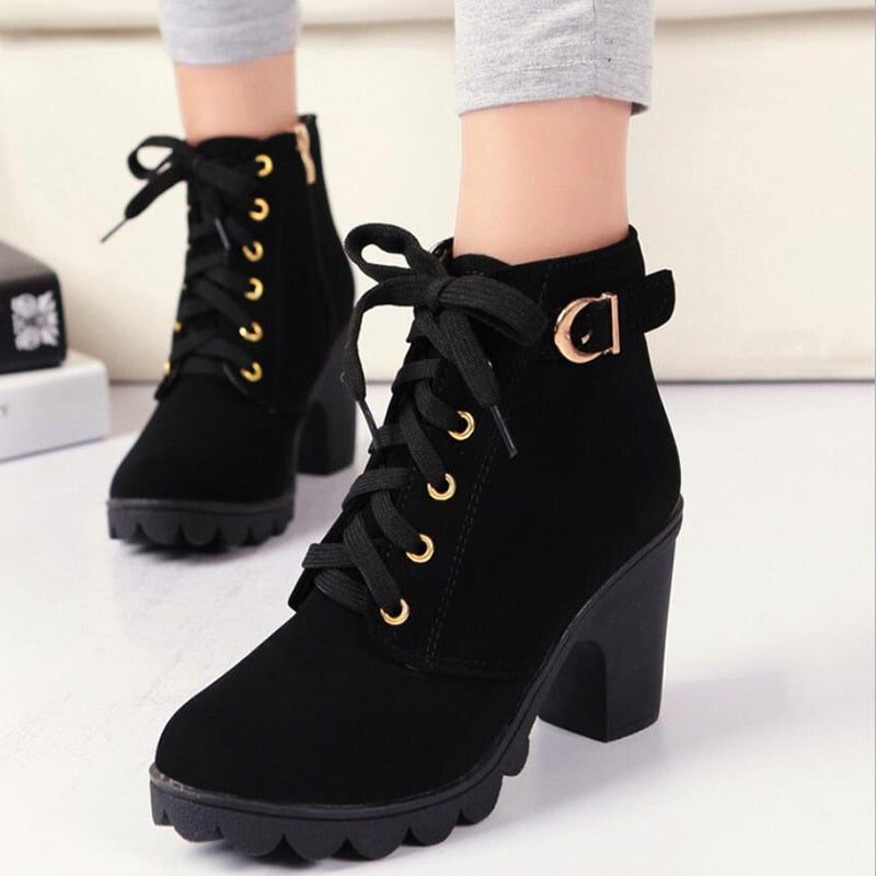 2722e64084b Buckle Zip Autumn Winter Women Lace Up Ankle Boots For Plus Size Ladie