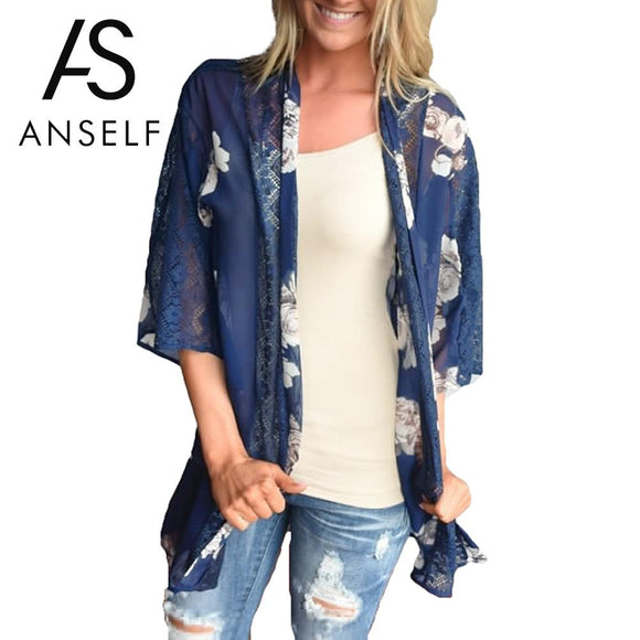 Anself Summer Women Chiffon Kimono Cardigan Floral Print Hollow Out Lace Blouse Outerwear Beachwear Bikini Cover Up Blue Blusas