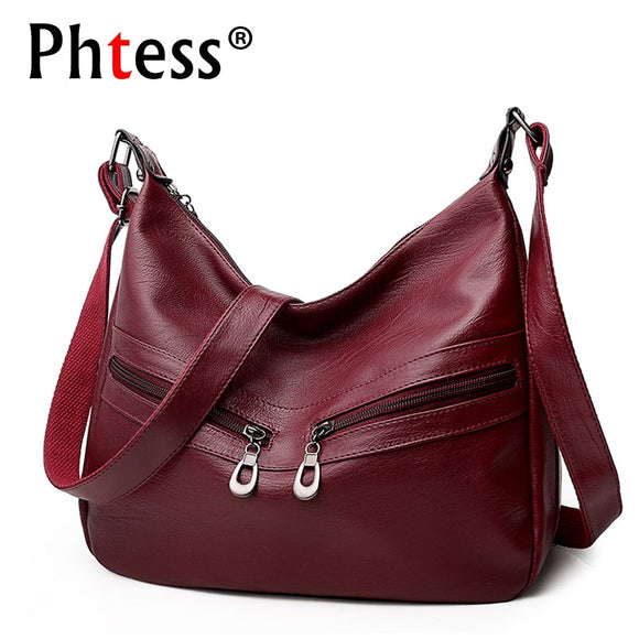 2018 Women Vintage Messenger Flap Bags Sac a Main Female Soft Leather Shoulder Bags Crossbody Bolsas Femininas Black Hobos Bag