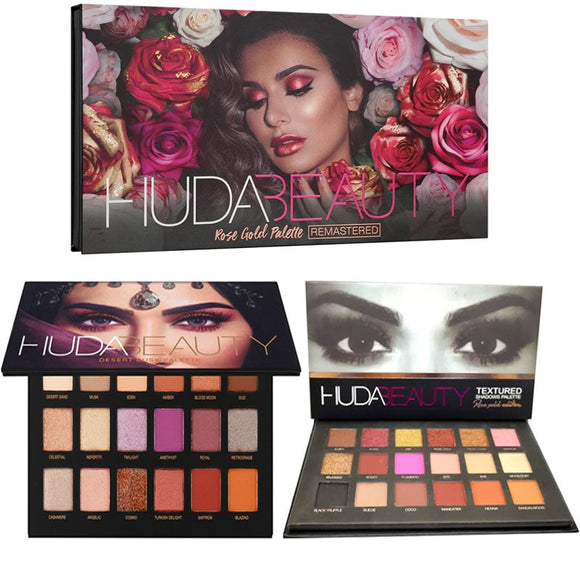 HUDA beauty Textured Shadows Palette Rose Gold Edition makeup 18 Colors Eyeshadow with Hudas Matte Diamond Glitter Metallic Set-Makeup-Zodeys-AMETHYST-Zodeys