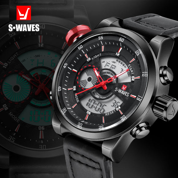 SWAVES Dual Display Watch Brand Men Waches Quartz Sport Water Resistant Digital Wristwatch Leather Band Clock Relogio Masculino