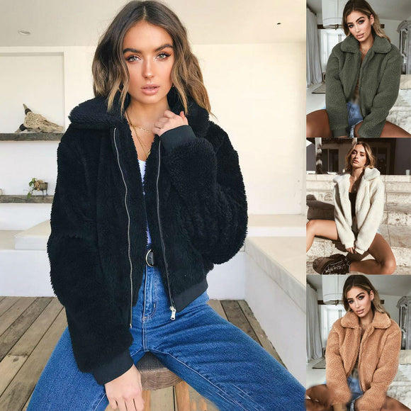 2018 Winter Women Warm Teddy Bear Fleece Jackets Crop Tops Zip Up Punk Oversize Outwear Coats With Pockets