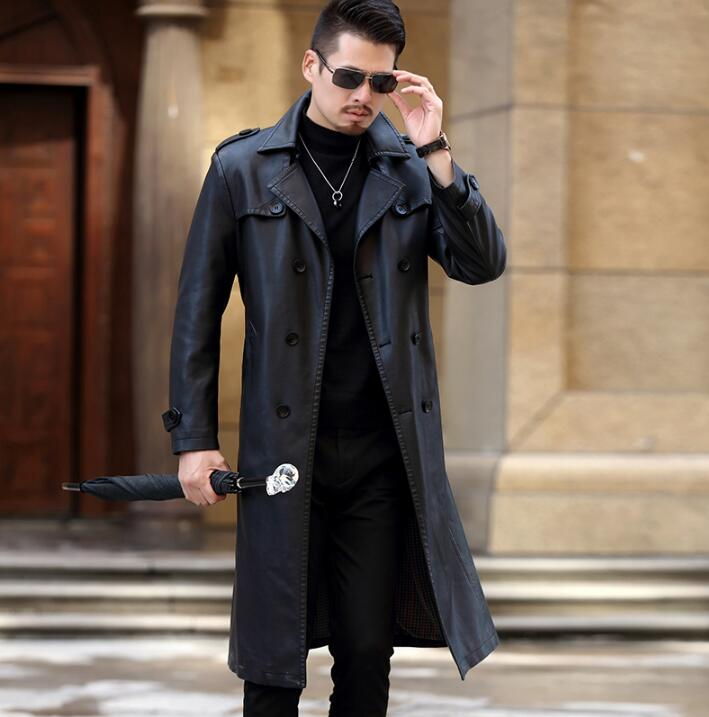 Winter Slim Motorcycle Long Leather Coats Men S Casual Double Breasted