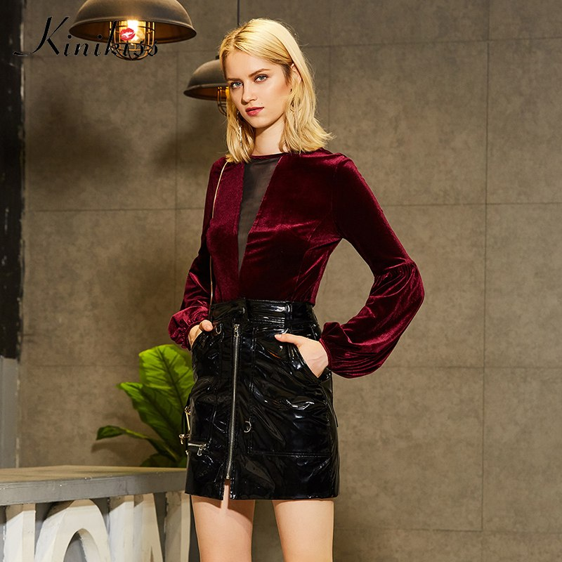 3558ef53e31748 Kinikiss Women Burgundy Sexy Velvet Tops Shirts Puff Sleeve Mesh Hollow Out  Modern Pullover Ladies Fashion