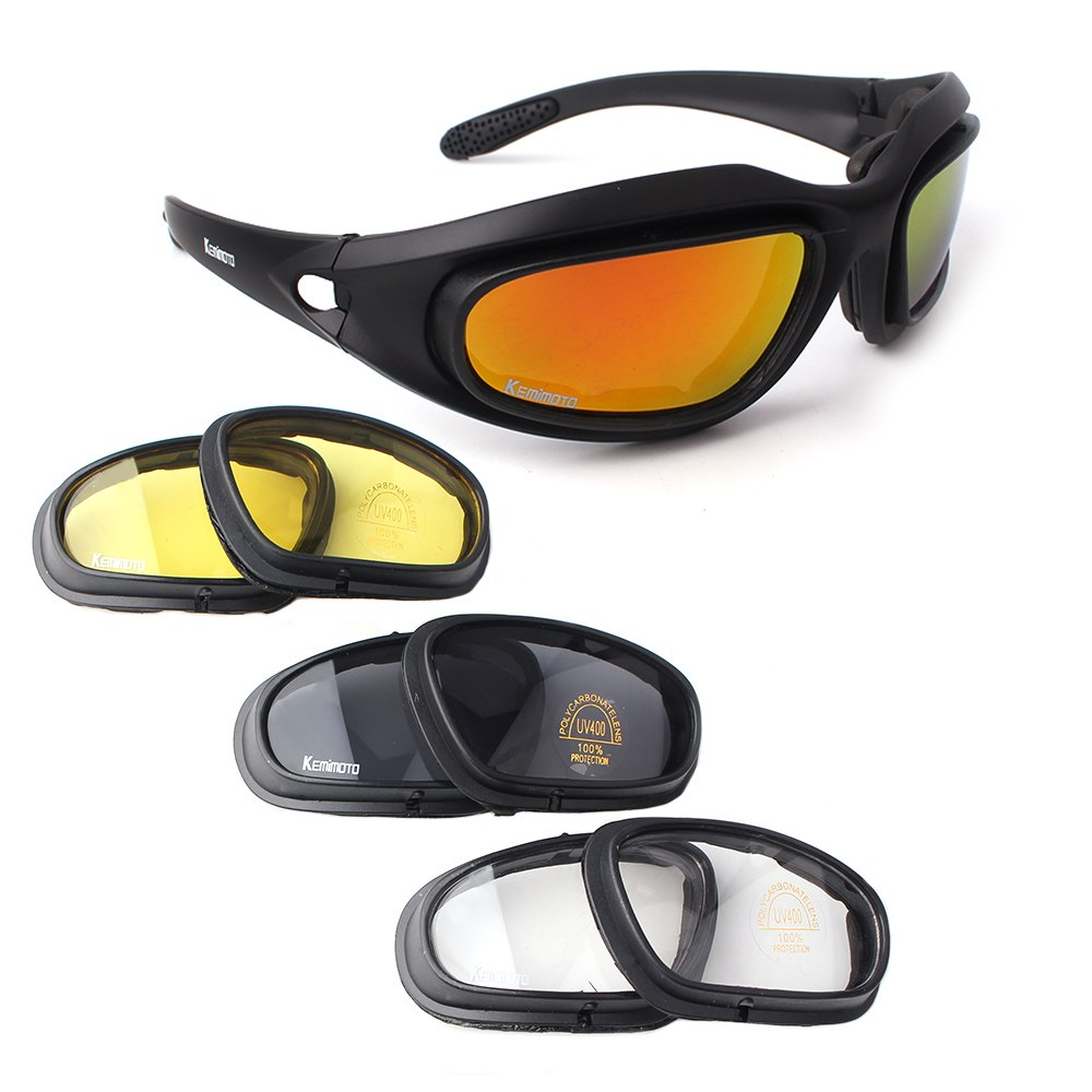 5301ce1d084 ... KEMiMOTO Motorcycle Glasses Riding Goggles Protective Motorcycle Glasses  with 4 Lens Kit for Outdoor Activity Sport ...