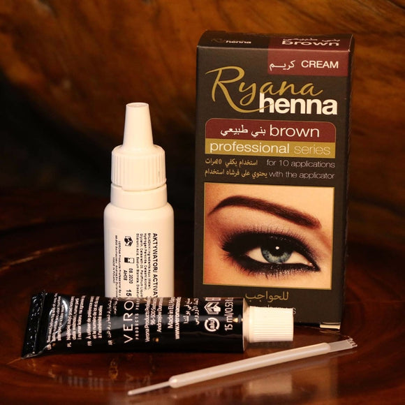 Ryana Henna Natural Eyebrow Eyelash Professional Color Tint Cream Kit, 15-minute Fast Tint Brown & Black Available easy dye-Makeup-Zodeys-black eyebrow tint-Zodeys
