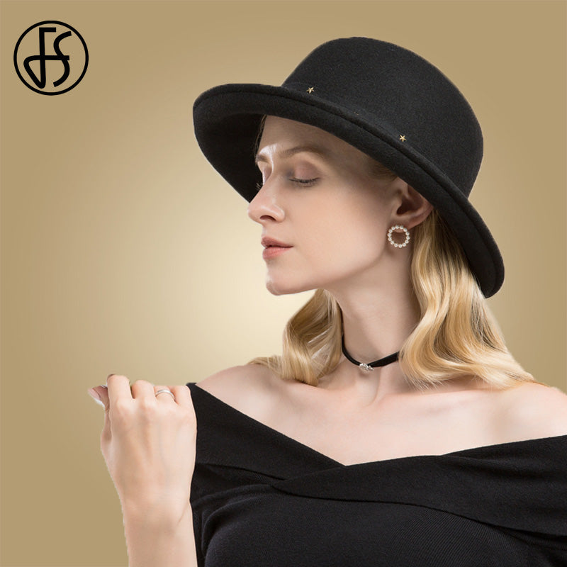 42c52a2dc5b ... FS Elegnat Black Fedora Hats For Woman Autumn 2018 Felt Wide Brim Wool Hat  Women Church ...