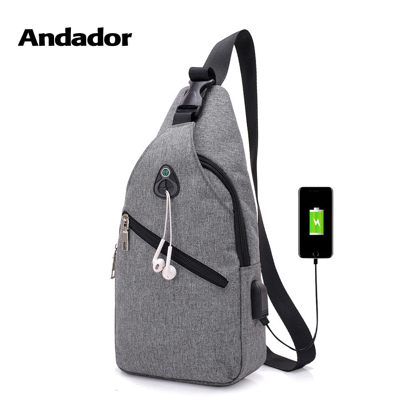 3a25d15e40 Fashion casual men chest pack single shoulder bags USB charging chest bag  crossbody bags male anti