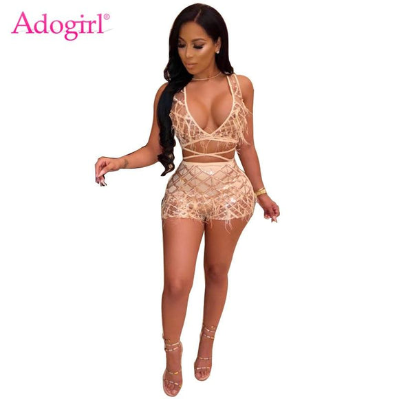 ea3ea75b92c4 Adogirl Pearls Feather Plaid Sequins Sexy Two Piece Set Women Night Club  Costume Deep V Neck