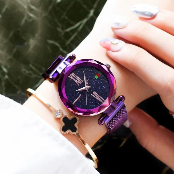 2019 Fashion Rose Gold Women Watch Roman Numeral Magnet buckle Female Quartz Wristwatch Starry Sky Luxury Brand Lady Clock Gift