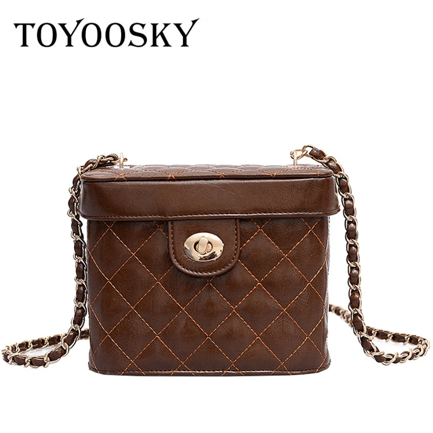 cfcc14fdb8d1 TOYOOSKY 2018 New Woman PU Leather Chain Handbags Quilted Plaid Women s  Shoulder Bags Brand Designer Small