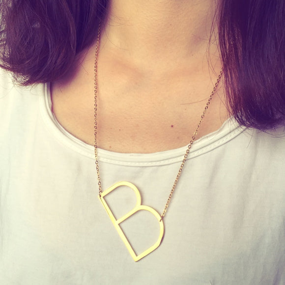 Mcllroy Big Letter Necklaces Pendants Women Jewelry Stainless Steel  suspension alphabet Alfabet choker collier femme
