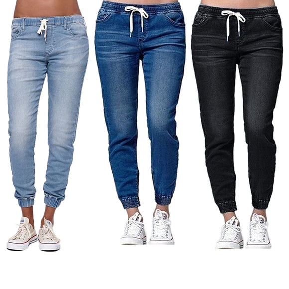 Women Casual Jogger Pants Drawstring Elastic Waisted Jeans Solid Ladies Denim Pants Slim Leggings Pants Vaqueros Mujer