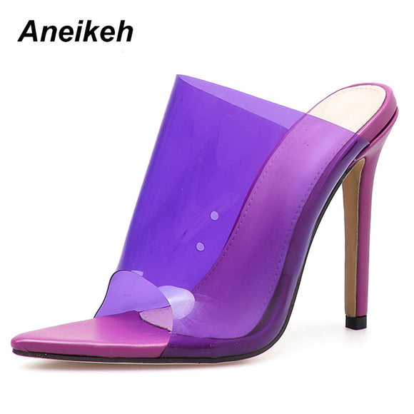 Aneikeh 2019 PVC Jelly Sandals Open Toe High Heels Women Thin Heels Slippers Shoes Heel Clear Sandals Slippers Pumps Purple