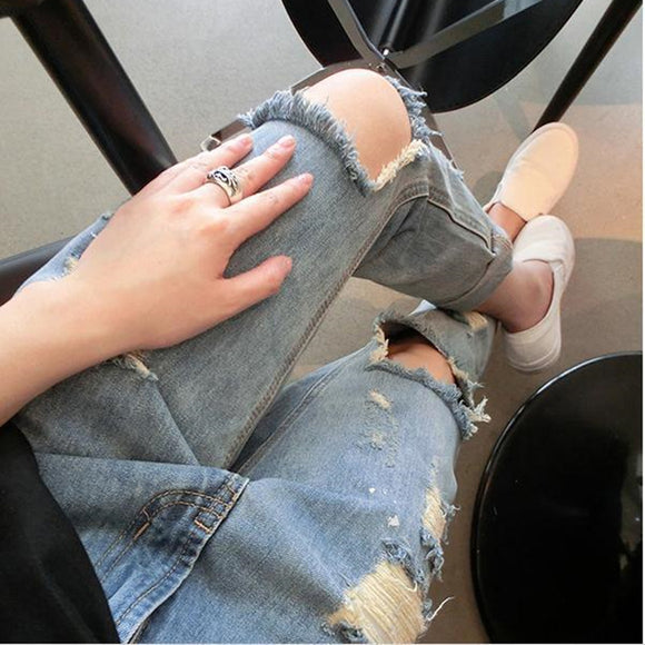 2017 Hot Sale New Fashion Women Casual Blue Mid Waist Torn Jeans Hole Knee Skinny Pencil Pants Denim Ripped Jeans MZ568