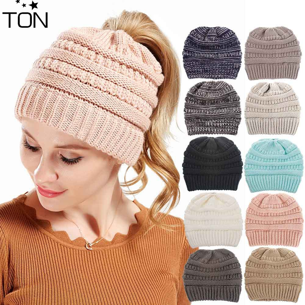 240093c2bed Ponytail Beanie Winter Hats For Women Crochet Knit Cap Skullies Beanies  Warm Caps Female Knitted Stylish