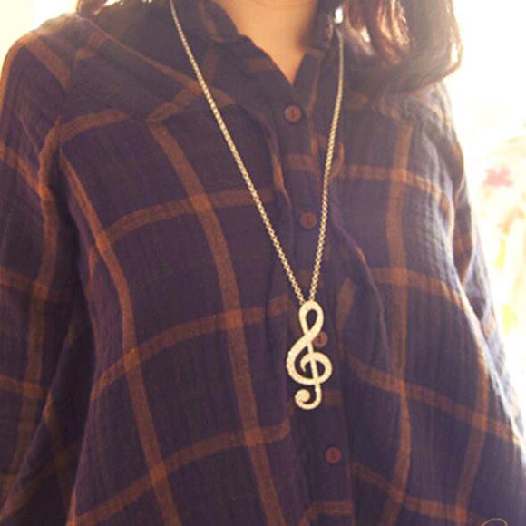 FAMSHIN 2016 New Hot Women Chic rhinestone rhythm music note suspension sweater long chain necklace gold and silver color