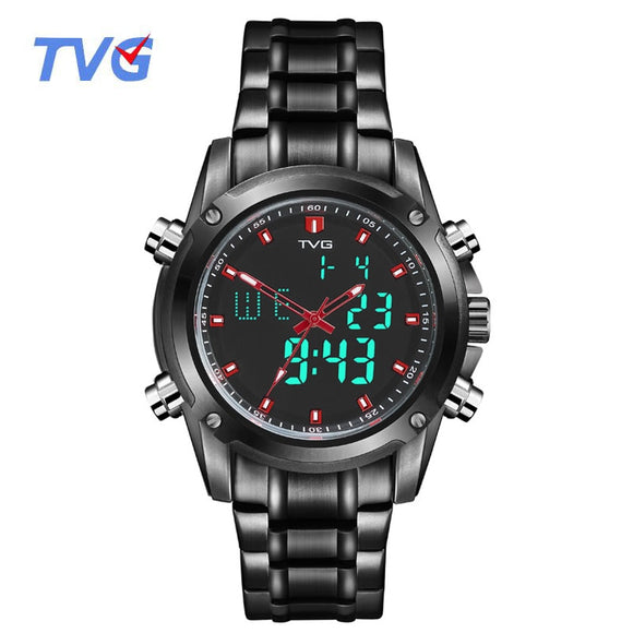 TVG Men Sports Watches Men's Quartz Dual Display Military Waterproof LED Digital Wristwatches Stainless Steel Relogio Masculino