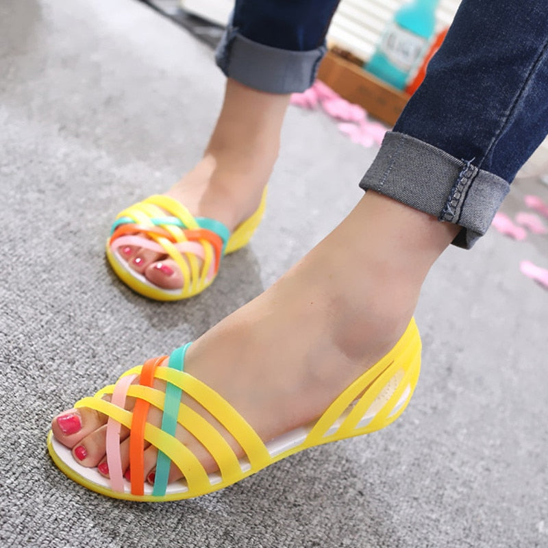 LAKESHI Jelly Shoes Women Sandals Summer Women Shoes Candy Color Ladies  Sandals 2018 New Peep Toe ebe5a3532ab7