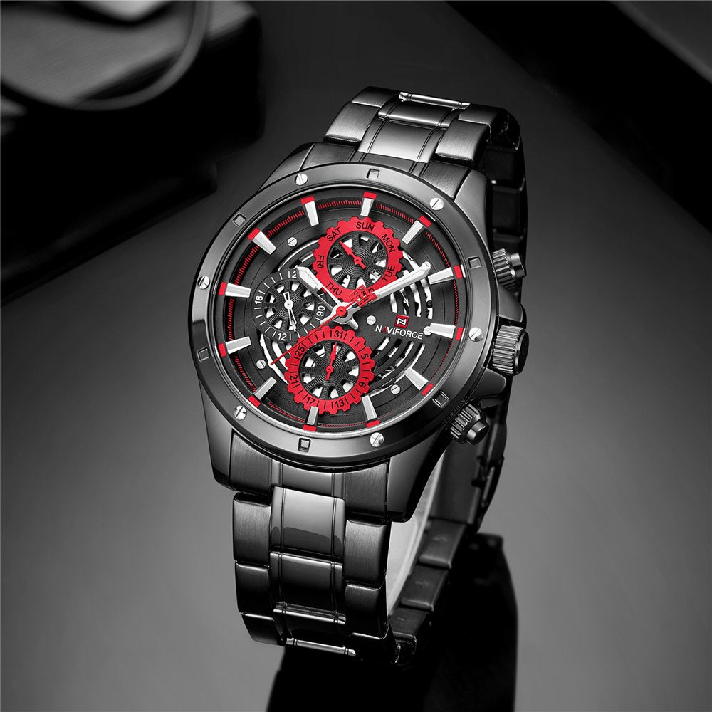 90dbf0b0a97 NAVIFORCE Brand New Fashion Sport Watch Men Luxury Quartz Wristwatch 3Bar  Waterproof Full Steel Male Black