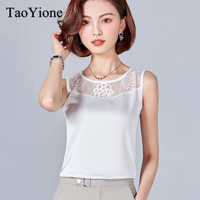 1671d3da3d310 Style Women Tops Summer Blouse Shirts Female Sexy Lace Top Sleeveless