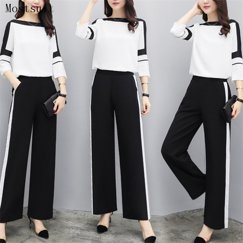 da1b5889d760 2018 Black White Chiffon Women Sets Long Sleeve Tops+wide Leg Pants Trousers  Two Piece