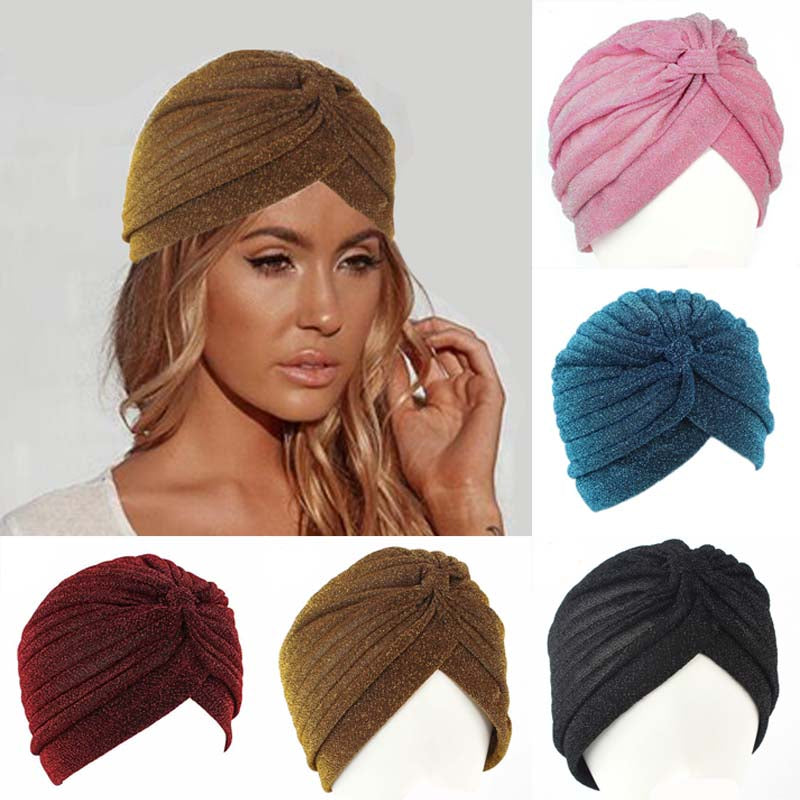 70520b08a1a India Women Glitter Silver Gold Knot Twist Turban Cap Autumn Winter Warm  Headwear Casual Streetwear Female