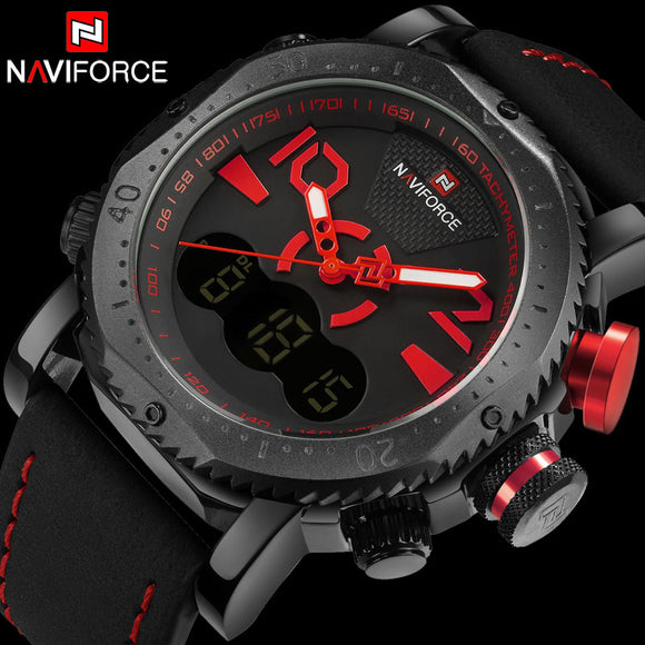 NAVIFORCE Brand Men Sport Watch Dual Display Digital Watch Leather Quartz Watch Red 30M Waterproof Wristwatches Reloj Hombre