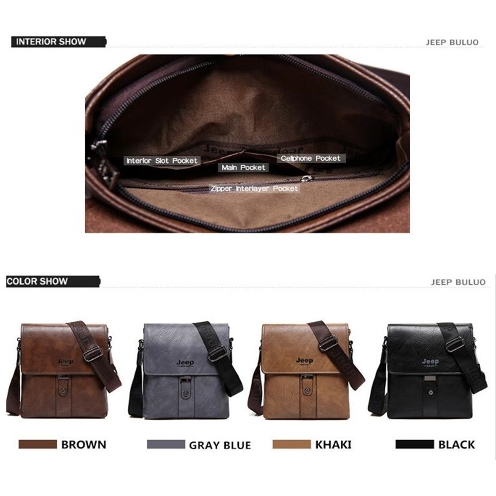 f21a8ffb3b JEEP BULUO Brand Men Bags Cow Split Leather Fashion Male Messenger Bags  Men s Briefcase Man Casual