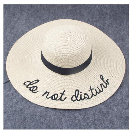 85258c14a59 2018 Letter Embroidery Cap Big Brim Ladies Summer Straw Hat Youth Hats –  Zodeys