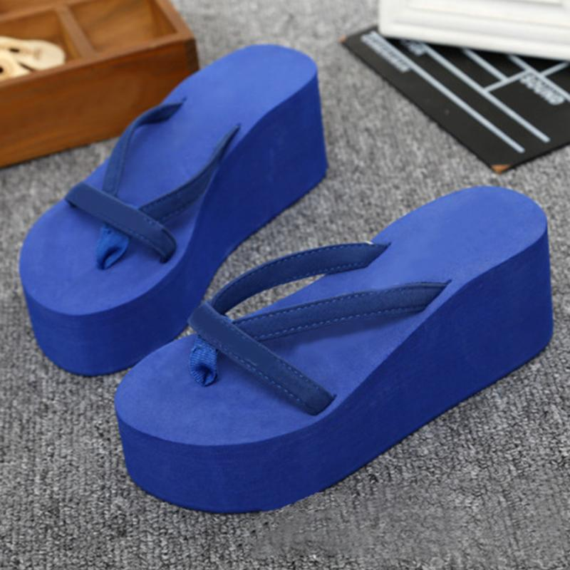 736f7e70bc06db ... Summer Sweet Women High Heel Flip Flops Slippers Wedge Platform Beach  Home Flat Slipper Female Sandals ...