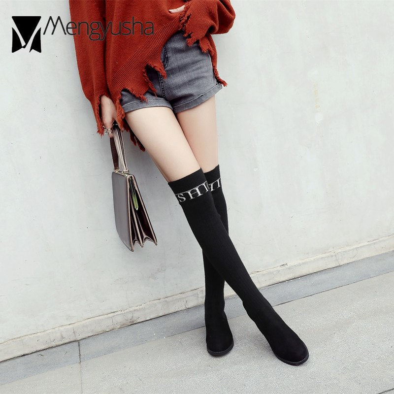 8d69989b65a wool knitting elastic high boots letter design low heel long botas woman slim  over knee boots