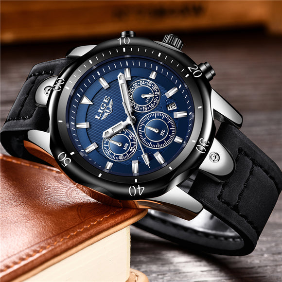 Relogio Masculino LIGE Mens Watches Top Brand Luxury Gold Quartz Watch Men Casual Leather Military Waterproof Sport Wrist Watc