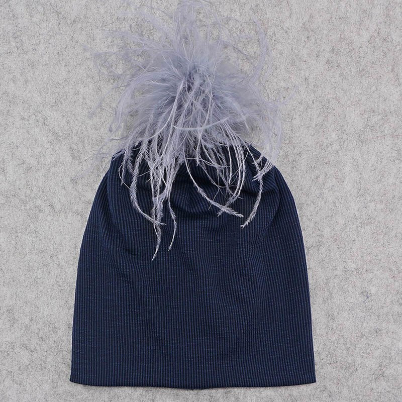 f5636de8e9f ... GZHILOVINGL Stylish Winter Warm Ribbed Beanie Hat For Women Girls Real  Ostrich Fur Pom Pom Hat ...
