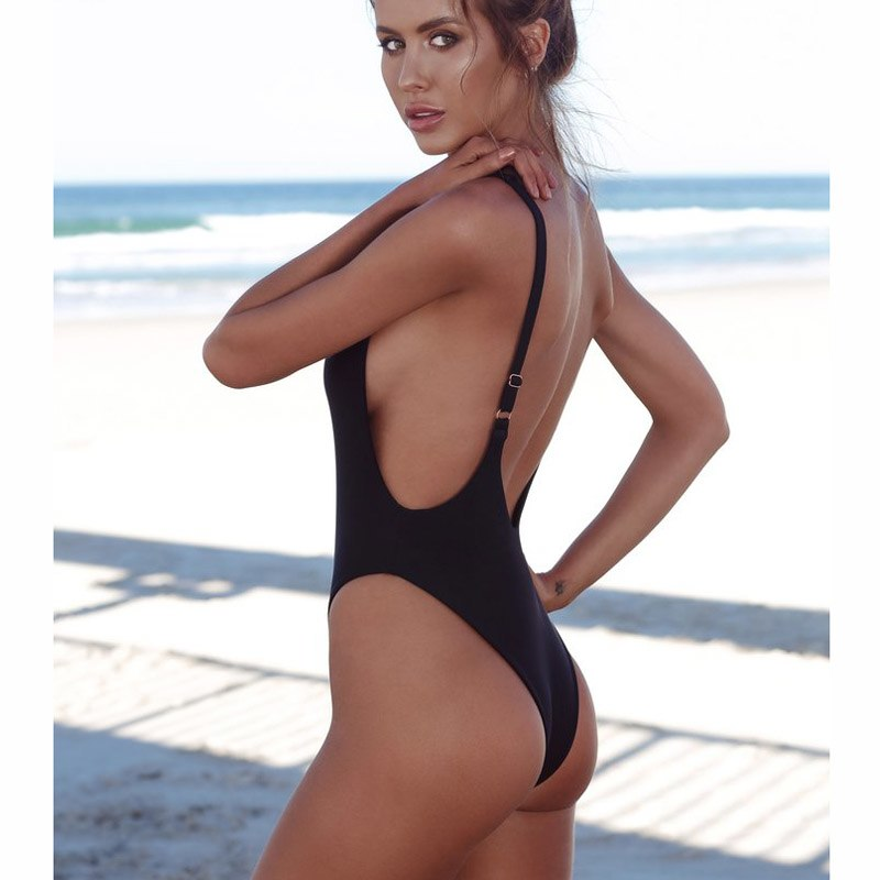 c203e817be220 Thong Black 2018 Sexy One Piece Swimsuit Solid Female Women Fused Swimwear  Backless White Brazilian May