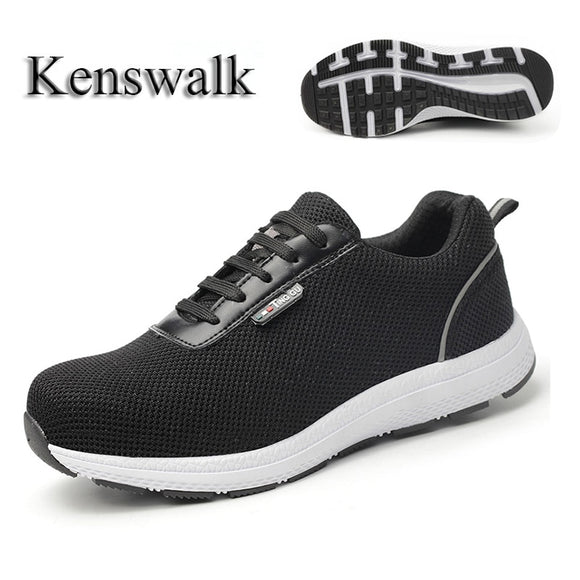 Kenswalk Fashion Breathable Light weight Steel Toe Cap Safety Shoes Anti-Smashing   Footwear Men Puncture Proof Work Boots