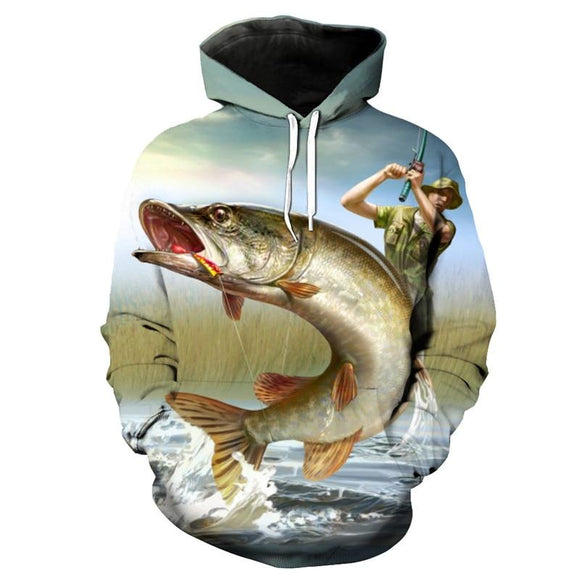 Cool Sportswear Flying Fish Fashion Hoodies Funny Tracksuits Pullovers Outdoor fishing sweatshirt Dropshipping and Wholesale