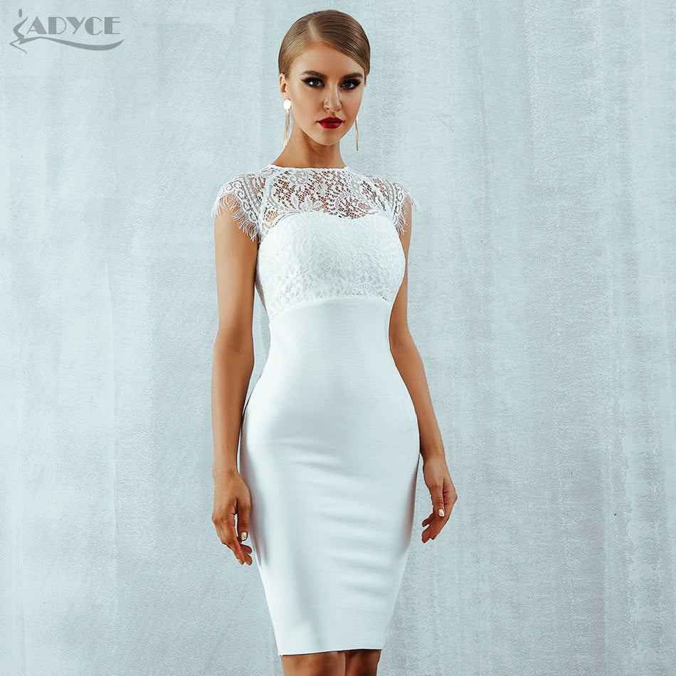 Adyce 2018 New Summer Women Bandage Dress Vestidos Sexy White Lace Short  Sleeve Hollow Out Midi cfe41e12a6425