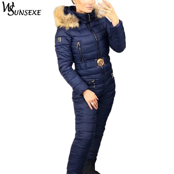 Winter Warm Ski Suit Elegant Cotton Padded Hooded Jacket Coat with Real Fur Zipper One Piece Jumpsuits Women Casual Tracksuits