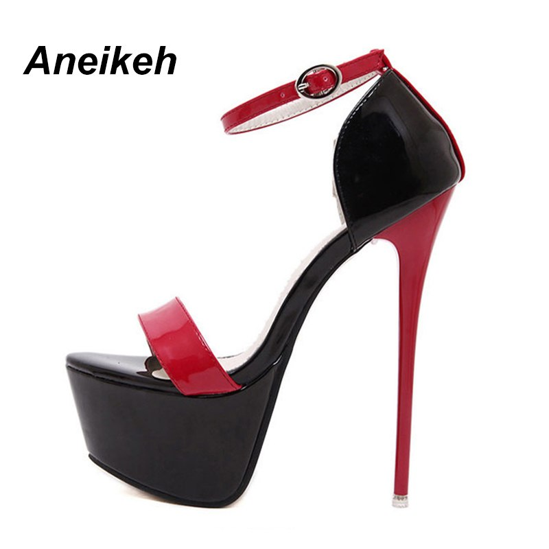 ... Aneikeh NEW 2018 Summer Sandals For Women Platform Shoes Style Sexy 16  CM High Heels Open ... d5b86458c38c
