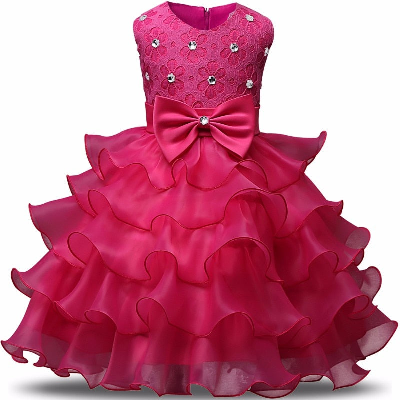 Infant Baby Girl Party Dress Tulle Tutu First Birthday Gift Christening Flower Wedding Gown